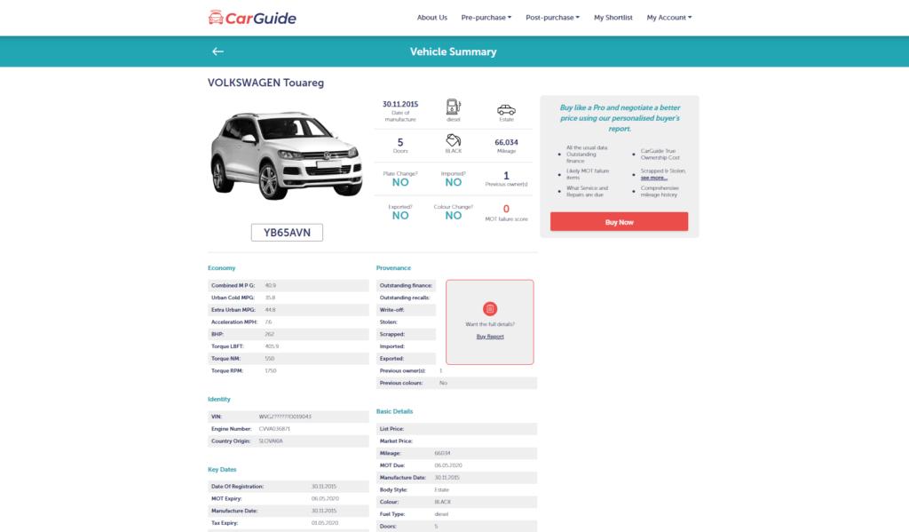 Car Details page